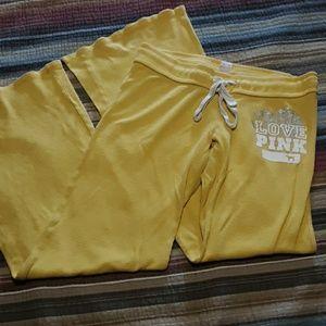 Pink yellow waffle lounge pant